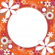 Floral Square Frame in Orange - Stock Vector