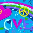 Royalty-Free Stock Vector Image: Love Peace and Hearts