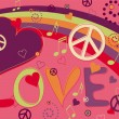 Stock Vector: Love Peace and Hearts in Pink