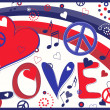 Love Text in Red White and Blue — Stock Vector