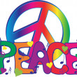 Stock Vector: Peace Sign and Peace Text