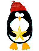 Penguin with Star — Stock Vector