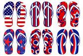 American Flag Flip Flops — Stock Vector