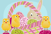 Chicks, Bunny and Eggs — Stock Vector