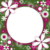 Floral Square Frame in Green and Magenta — Stock Vector