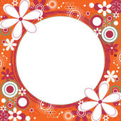 Floral Square Frame in Orange — Stock Vector
