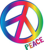 Peace Sign and Peace Text — Stock Vector