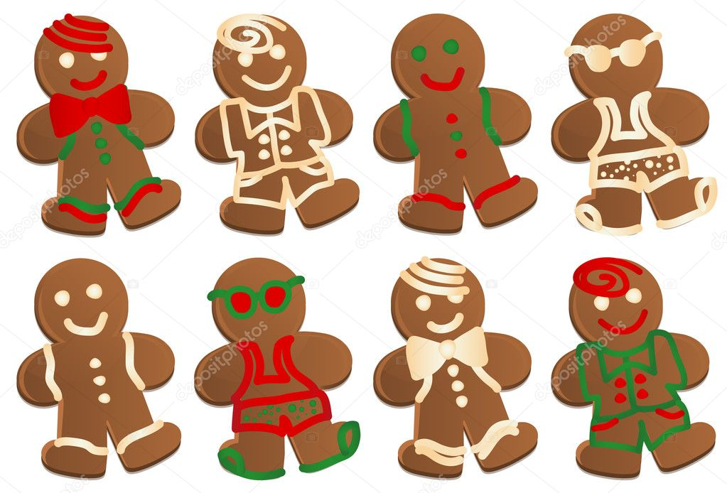 Set of eight gingerbread men cookies in four styles, each style decorated in color and plain frosting.     #6349788