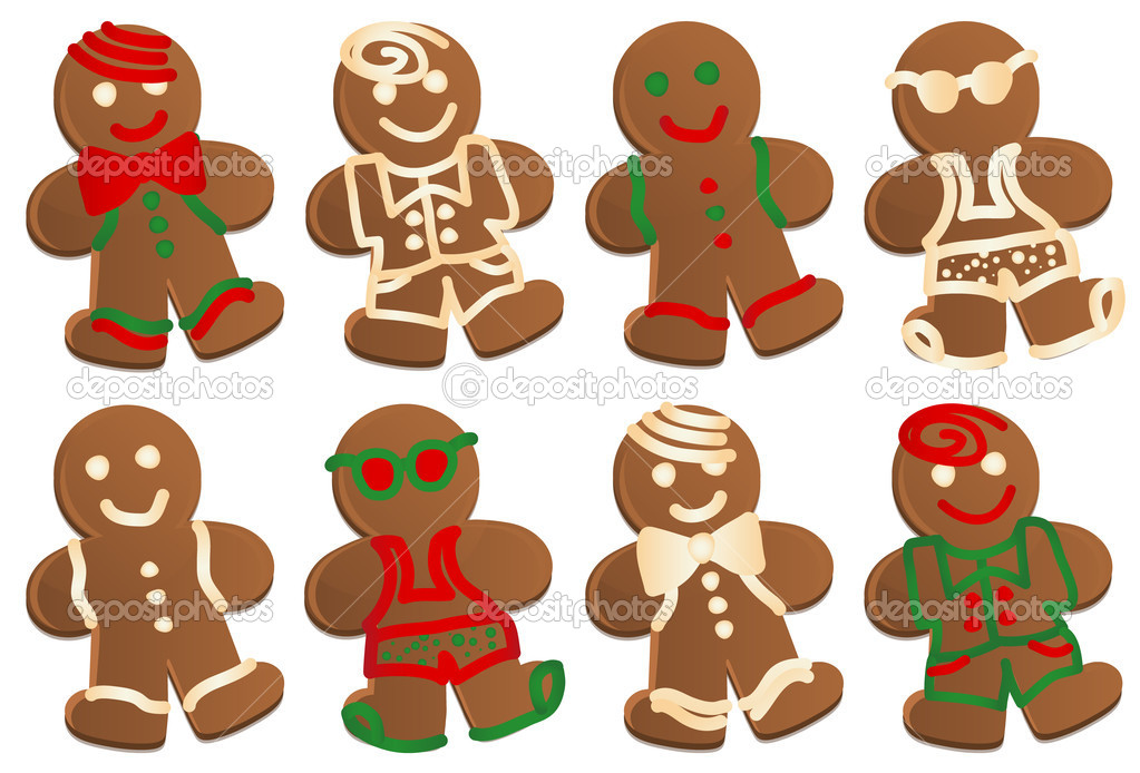 Set of eight gingerbread men cookies in four styles, each style decorated in color and plain frosting.  — Stockvectorbeeld #6349788