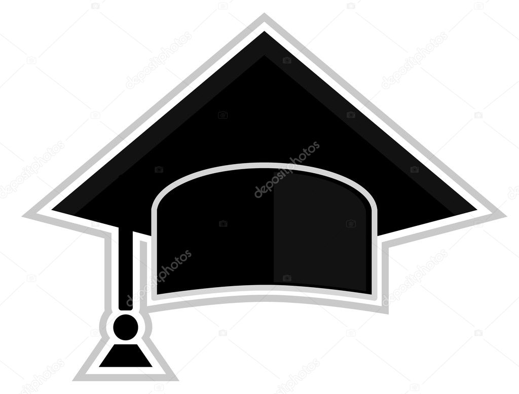 Black and white graduation cap – isolated illustration — Stock Vector #6349789