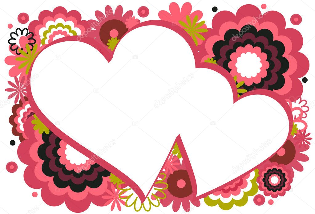 Collage of flowers and circles featured around a heart on a white background — Stock Vector #6349834