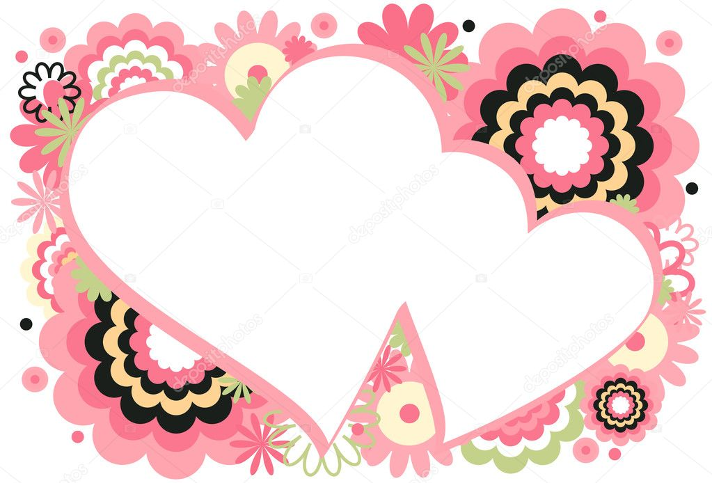 Collage of flowers and circles featured around a heart on a white background — Stock Vector #6349837