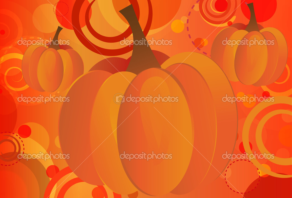Abstract Fall Seasonal background featuring pumpkins and bokeh circles — Stock Vector #6350005