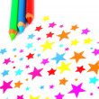 Colourful stars and pencils — Stock Photo