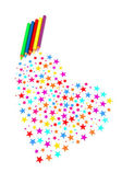 Colourful stars and pencils gets a heart — Stock Photo