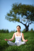 Yoga formazione di bella ragazza sul prato soleggiato — Foto Stock