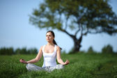 Beautiful young girl training yoga on sunny meadow — Stock Photo