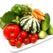 Fresh vegetables, isolated on white - Stock Photo