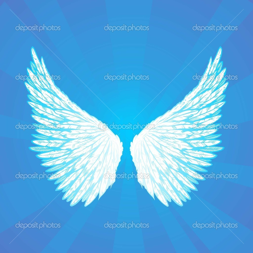 Wings on a blue background radiant — Stock Vector #6379953