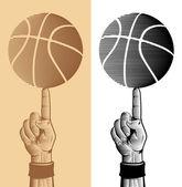 Basketball Ball On The Finger 2 — Stock Vector