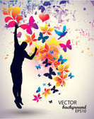 Vector illustration of jumping man — Stock Vector