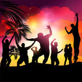 Sunset Beach Party Vector — Stock Vector