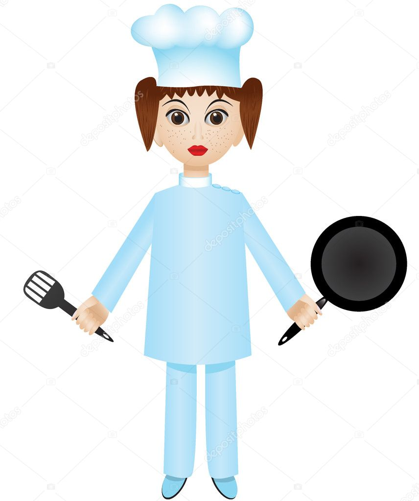 Isolated cartoon chef girl with pan and turner — Stock Vector #5819766