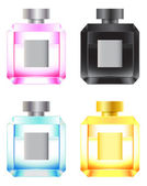 Set of colored perfume bottles — Stock Vector