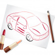 Girl car painted with make-up stuff — Stock Vector