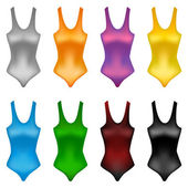 Set of brightly colored swimming suits — Stock Vector