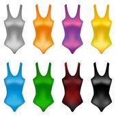 Zestaw kolorowych basen garnitury — Wektor stockowy