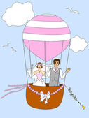Just married couple ballooning — Stock Vector