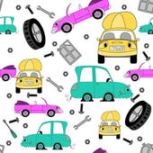 Seamless pattern with cars and tools — Stock Vector