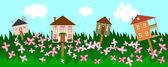 出租或出售房地产的夏季横幅 — 图库矢量图片