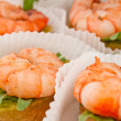 Canape with prawn on white tartlet — Stock Photo