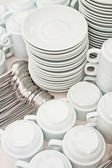 Pile tea tableware — Stock Photo