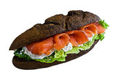 Sandwich whis fish and black bread — Stock Photo