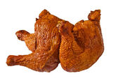 Delicious bloated chicken leg on white — Stock Photo