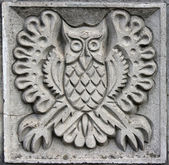 Bas-relief of fairytale owl — 图库照片