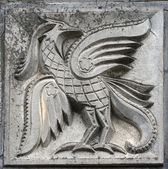 Bas-relief of fairytale firebird — 图库照片