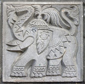 Old bas-relief of fairytale elephant — Stock Photo