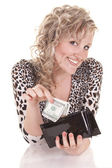 А girl holding purse with cash — Stockfoto