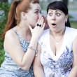 Two girls gossip — Stockfoto