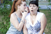 Two girls gossip — Stock Photo
