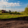 Construction of new power line - Stock Photo