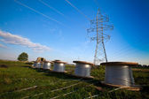 Construction of new power line — Stock Photo