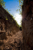 Low view of digged trench. Low view — Stock Photo