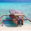 Bali boat, Gili island beach, Indonesia - Stock Photo