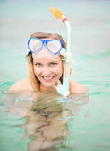 Snorkeling. Gili Islands, Indonesia. — Stock Photo