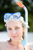 Portrait of snorkeling woman — Stock Photo